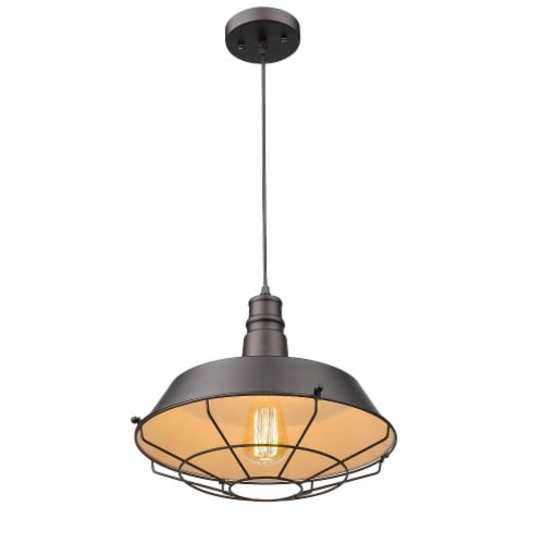 60 Watt Metal Pendant Light with Grill Design, Black Perspective: front
