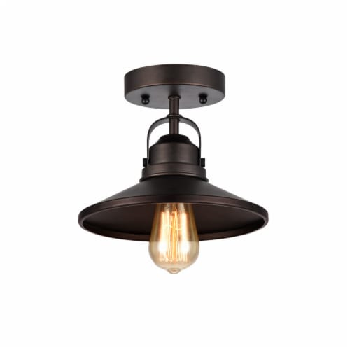 IRONCLAD Industrial-style 1 Light Rubbed Bronze Semi-flush Ceiling Fixture 9  Shade Perspective: front