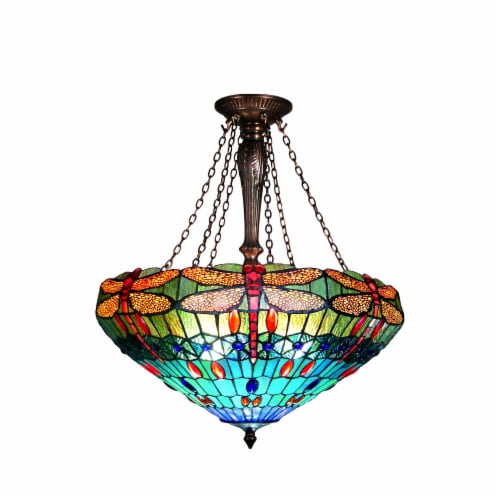 SCARLET Tiffany-style 3 Light Dragonfly Inverted Ceiling Pendant 24  Shade Perspective: front