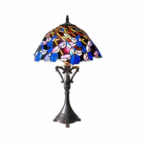 CHLOE Lighting NATALIE Tiffany-style 2 Light Iris Table Lamp 19  Shade Perspective: front