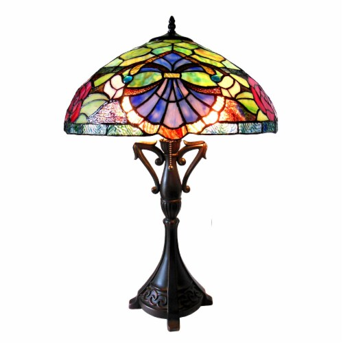 CHLOE Lighting HANNAH Tiffany-style 2 Light Baroque/Roses Table Lamp 18  Shade Perspective: front