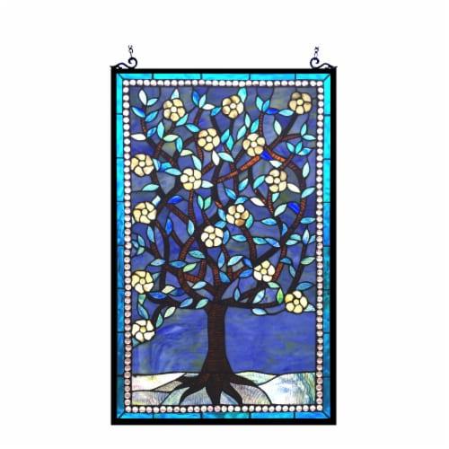 "CHLOE Lighting WOODLEY Tiffany-glass ""Tree of Life"" Window Panel 20x32 Perspective: front"