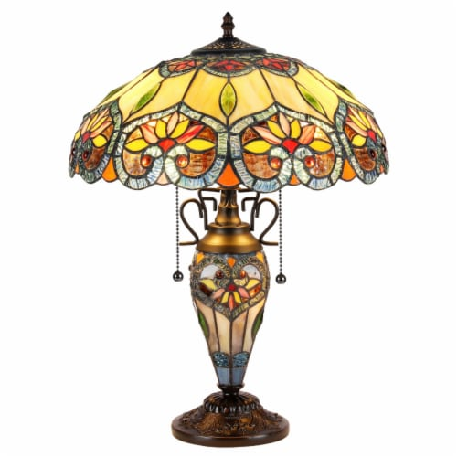 """CRYSTORAMA Tiffany-style 3 Light Floral Double Lit Table Lamp 16"""" Shade Perspective: front"""
