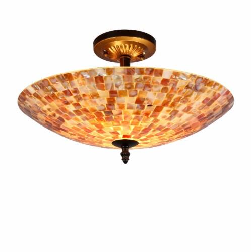 16 Inches 2 Light Mosaic Design Semi Flush Ceiling Fixture, Bronze Perspective: front