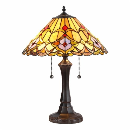 """Holiday, Tiffany-Style 2 Light Floral Table Lamp 16"""" Shade Perspective: front"""