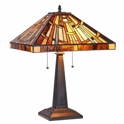 """CHLOE Lighting FALKNER Tiffany-style Victorian 2 Light Table Lamp 16"""" Wide Perspective: front"""