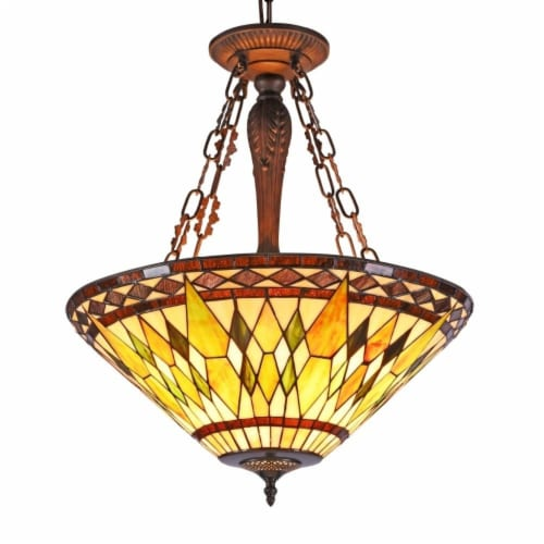 """CHLOE Lighting AIKEN Tiffany-style 3 Light Inverted Ceiling Pendant 20"""" Shade Perspective: front"""