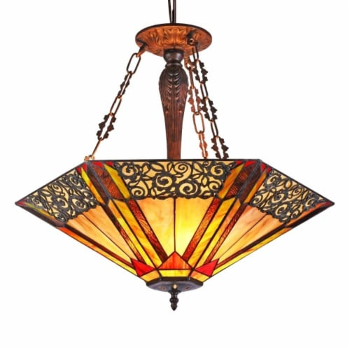 """CHLOE Lighting EVELYN Tiffany-style 3 light Ceiling Pendant 24"""" Shade Perspective: front"""