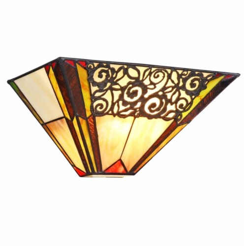"""CHLOE Lighting EVELYN Tiffany-style 1 Light Indoor Wall Sconce 12"""" Wide Perspective: front"""