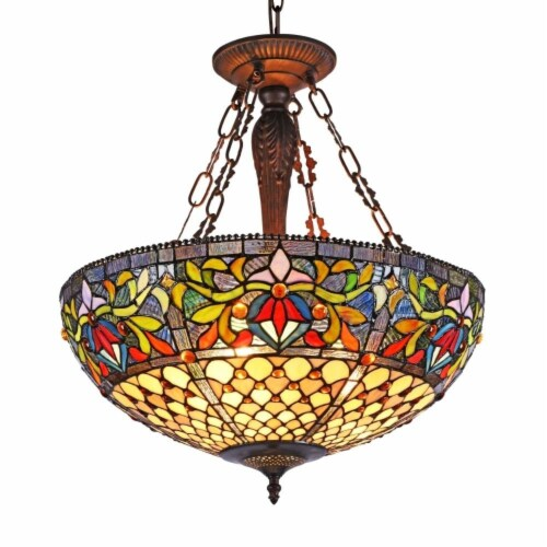 """CHLOE Lighting FALLON Tiffany-style 3 Light Inverted Ceiling Pendant 20"""" Shade Perspective: front"""