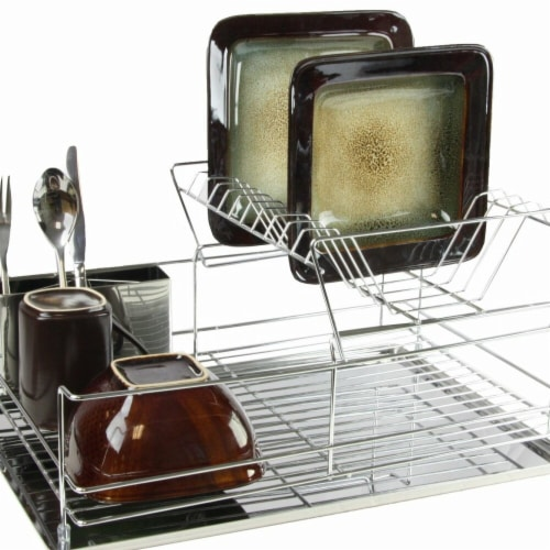 Megachef DR-209 15.5 in. Stainless Iron Shelf Dish Rack Perspective: front