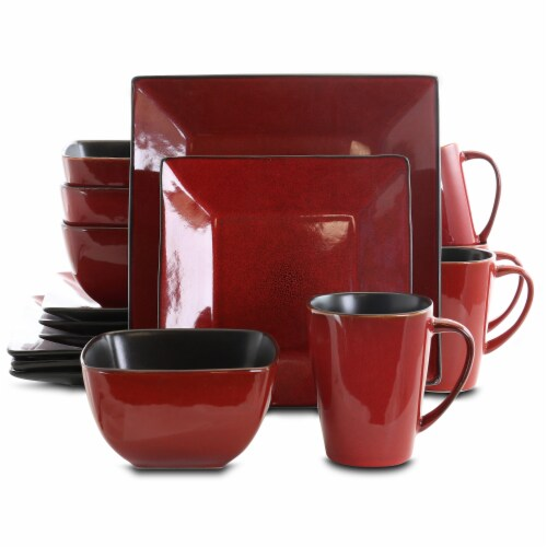 Elama Harland Loft 16 Piece Modern Premium Stoneware set with Complete Setting for 4 Perspective: front