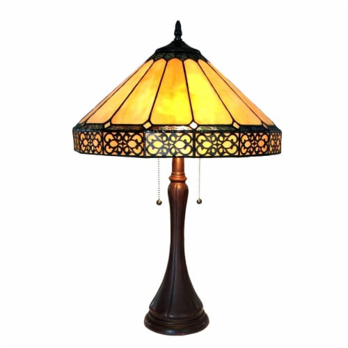 ELEANOR Tiffany-style 2 Light Mission Table Lamp 16  Shade Perspective: front