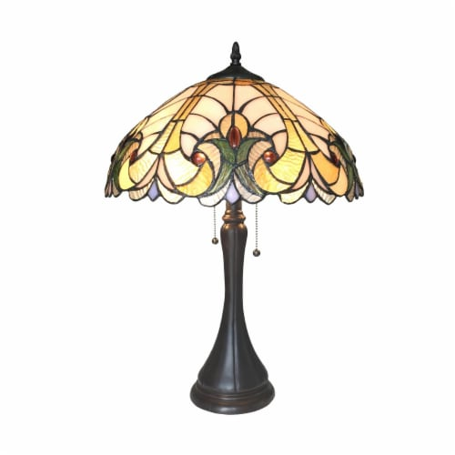 AMOR Tiffany-style 2 Light Victorian Table Lamp 16  Shade Perspective: front