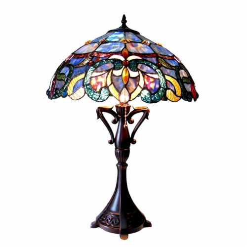 NORA Tiffany Style Victorian 2 Light Table lamp 18  Shade. Perspective: front