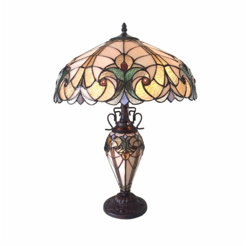 LIAISON Tiffany-style 3 Light Victorian Double Lit Table Lamp 18  Shade Perspective: front