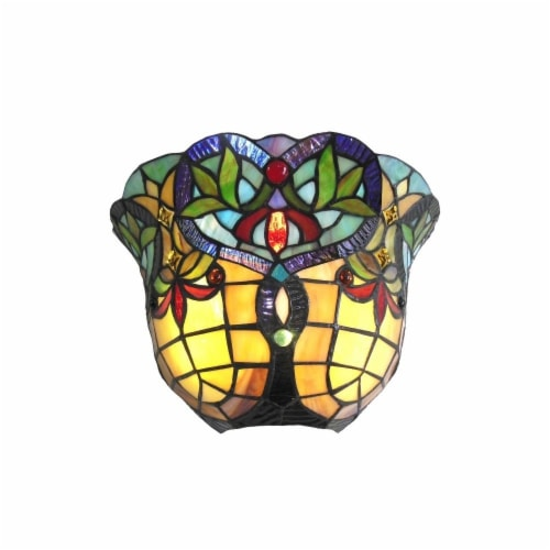 CHLOE Lighting BERTRAM Tiffany-style 1 Light Victorian Indoor Wall Sconce 12  Shade Perspective: front