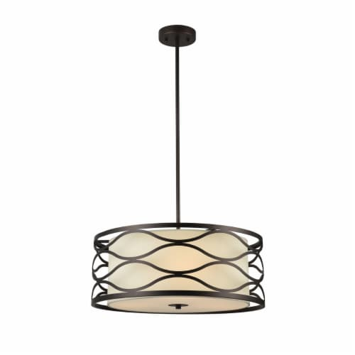 GWEN Transitional Oil Rubbed Bronze 3 Light Ceiling Pendant 20  Wide Perspective: front