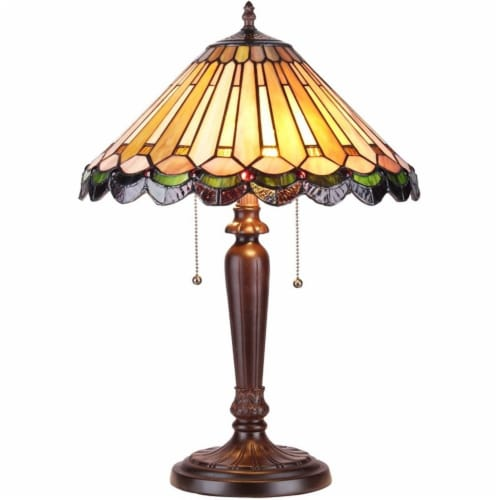 INEZ Tiffany-style 2 Light Mission Table Lamp 16  Shade Perspective: front