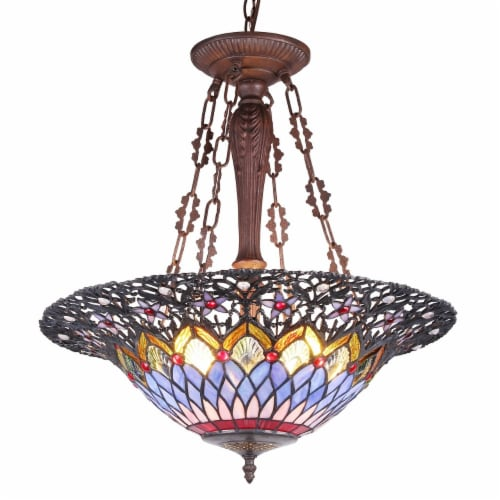 CAMILA Tiffany-style 3 Light Inverted Ceiling Pendant 21  Shade Perspective: front