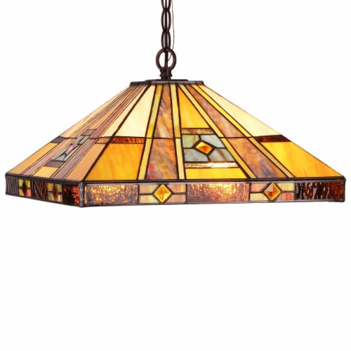 ELY Tiffany-style 2 Light Hanging Pendant Fixture 16  Shade Perspective: front
