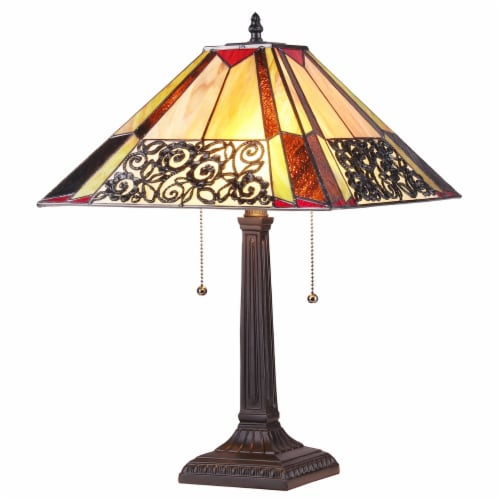 CHLOE Evelyn Tiffany-style 2 Light Mission Table Lamp 16  Shade Perspective: front