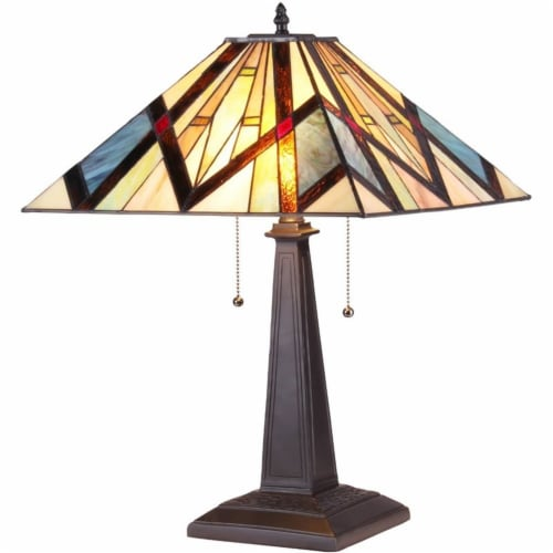BEDIVERE Tiffany-style 2 Light Mission Table Lamp 16  Shade Perspective: front