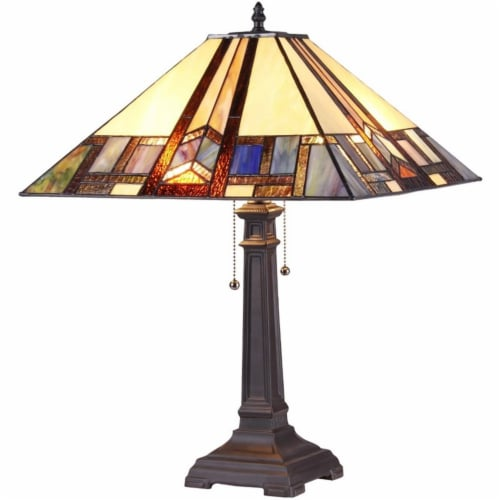 GAHERIS Tiffany-style 2 Light Mission Table Lamp 16  Shade Perspective: front