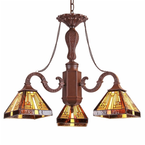 INNES Tiffany-style Mission 3 Light Mini Chandelier 23  Wide Perspective: front
