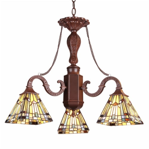PROGRESSIVE Tiffany-style Mission 3 Light Mini Chandelier 23  Wide Perspective: front