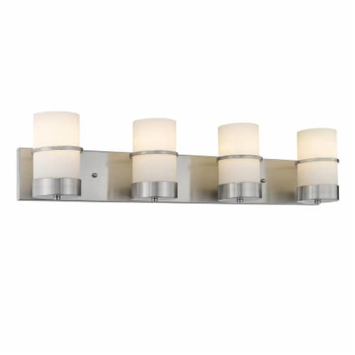 PENELOPE Contemporary 4 Light Brushed Nickel Etched White Glass 32  Wide Perspective: front