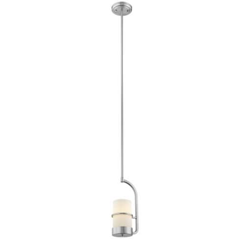 PENELOPE Contemporary 1 Light Brushed Nickel Ceiling Mini Pendant 7  Wide Perspective: front
