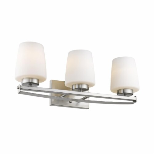 OLIVIA Contemporary 3 Light Brushed Nickel Etched White Glass 23  Wide Perspective: front