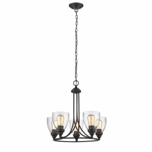 """CHLOE Lighting ELISSA Transitional 5 Light Rubbed Bronze Mini Chandelier 22"""" Wide Perspective: front"""