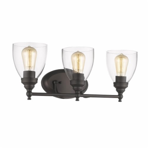 ELISSA Transitional 3 Light Rubbed Bronze Bath Vanity Light Clear Glass 23  Wide Perspective: front