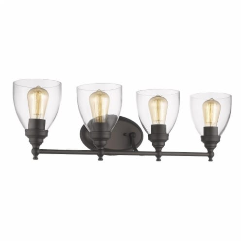 ELISSA Transitional 4 Light Rubbed Bronze Bath Vanity Light Clear Glass 30  Wide Perspective: front