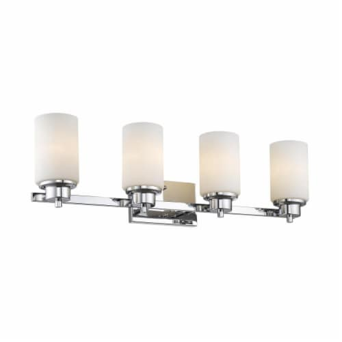 SCARLETT Contemporary 4 Light Chrome Finish Etched White Glass 29  Wide Perspective: front