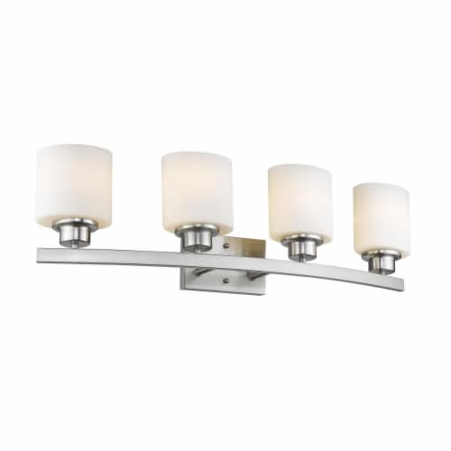 AALIYAH Contemporary 4 Light Brushed Nickel Opal White Glass 32  Wide Perspective: front