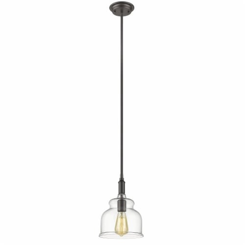 CHLOE Lighting ZOE Transitional 1 Light Rubbed Bronze Ceiling Mini Pendant 8  Wide Perspective: front