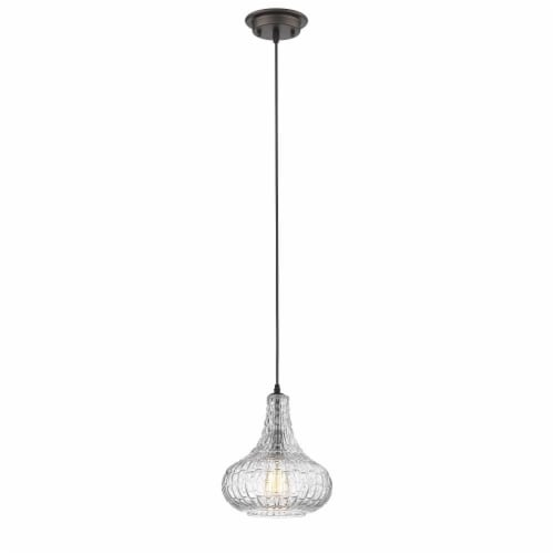 CHLOE Lighting ARIA Transitional 1 Light Rubbed Bronze Ceiling Mini Pendant 10  Wide Perspective: front