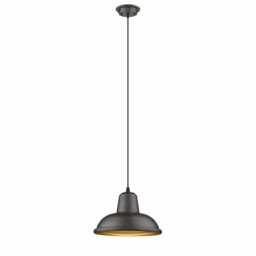 IRONCLAD Industrial-style 1 Light Rubbed Bronze Ceiling Mini Pendant 10  Wide , Perspective: front