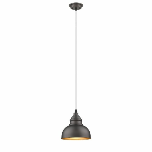 IRONCLAD Industrial-style 1 Light Rubbed Bronze Ceiling Mini Pendant 8  Wide , Perspective: front