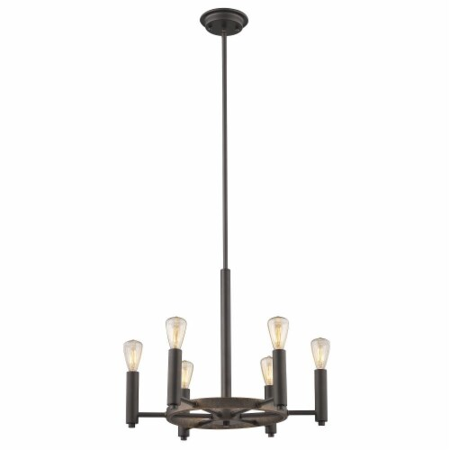 IRONCLAD Industrial-style 6 Light Rubbed Bronze Ceiling Pendant 20  Wide Perspective: front