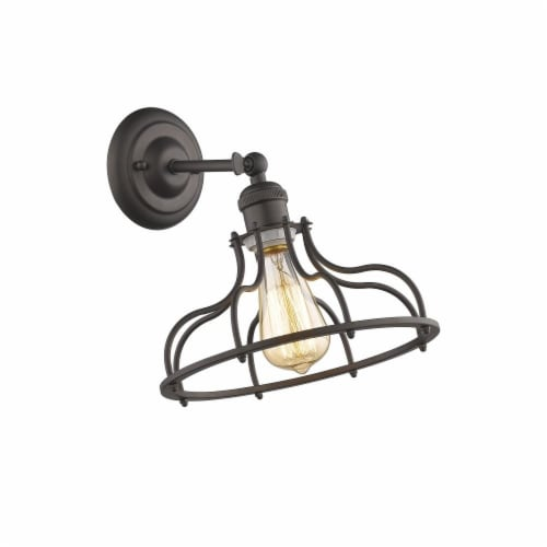 JAXON Industrial-style 1 Light Rubbed Bronze Indoor Wall Sconce 10  Wide Perspective: front