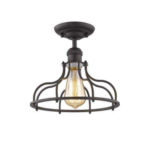 JAXON Industrial-style 1 Light Rubbed Bronze Semi-flush Ceiling Fixture 10  Wide Perspective: front