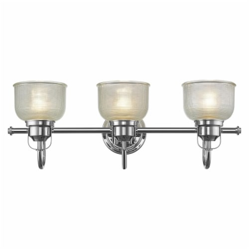 LUCIE Industrial-style 3 Light Chrome Finish Clear Prismatic Glass 25  Wide Perspective: front