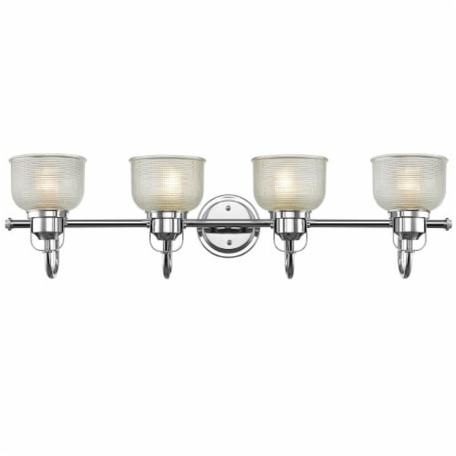 LUCIE Industrial-style 4 Light Chrome Finish Clear Prismatic Glass 34  Wide Perspective: front