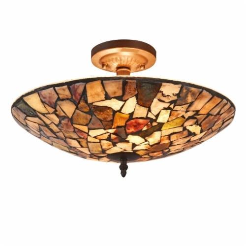 CHLOE Lighting SANDY Mosaic 2 Light Semi-flush Ceiling Fixture 16  Shade Perspective: front