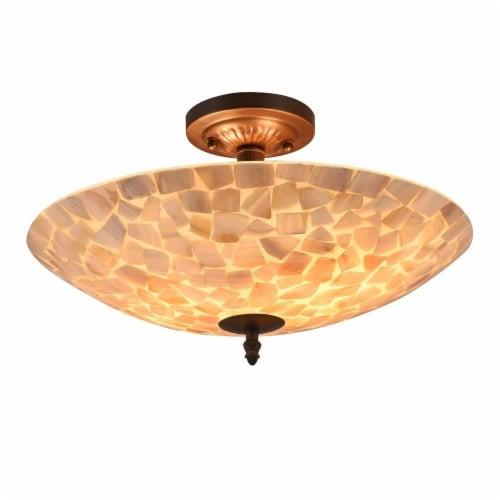 CHLOE Lighting SALLY Mosaic 2 Light Semi-flush Ceiling Fixture 16  Shade Perspective: front