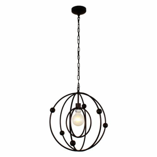 Lighting IRONCLAD Farmhouse 1 Light Oil Rubbed Bronze Ceiling Pendant 18  Wide Perspective: front